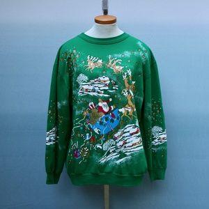 Vintage Santa Sleigh Ugly Christmas Sweatshirt L